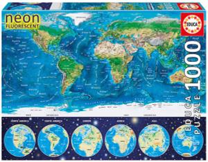 Настольная игра Неоновая карта мира. Пазл 1000 деталей