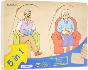 Настольная игра Дедушка и бабушка. Пазл для малышей 5 в 1