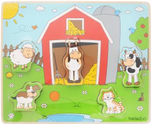 Настольная игра Веселые друзья на ферме. Пазл для малышей
