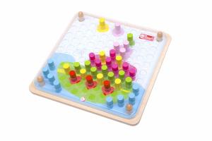 Настольная игра Цветные колышки. Мозаика-конструктор