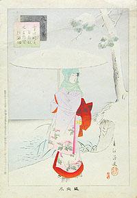 Женщина под зонтом - Цветная гравюра (первая половина XX век, Япония)306-14183/EifelTowerЦветная гравюра первой половины XX века. Сохранность хорошая. Лист наклеен на бумажную основу. Диагональная складка в верхней части листа. Размер изображения 33,2 х 21 см., размер листа 35,2 х 23,9 см.