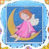 Ангел на месяце. Авторский батик (14,5 х 14,5 см)