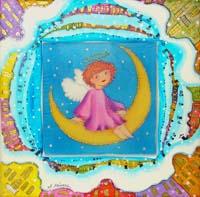 Ангел на полумесяце - Авторский батик (23 х 23 см)