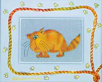 Печальный толстый кот. Авторский батик (12 х 14 см)