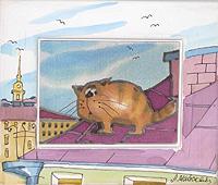 Одинокий кот на крыше. Авторский батик (12 х 14 см)