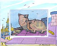 Коты на крыше. Авторский батик (12 х 14 см)