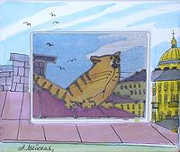 Мартовский кот на крыше. Авторский батик (12 х 14 см)