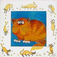 Мартовский кот - Авторский батик (25 х 25 см)
