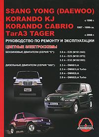 SsangYong (Daewoo) Korando KJ / Cabrio KJ / ТагАЗ Tager с 1996 г. Бензиновые двигатели 2.0, 2.3, 3.2 л. Дизельные двигатели 2.3, 2.9 л. Руководство по ремонту и эксплуатации. Цветные электросхемы