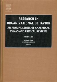 Research in Organizational Behavior,26 ( 9780762311804 )