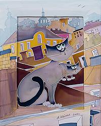 Коты на крыше - Авторский батик (26 х 30 см)