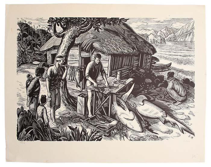 Рыбаки. Ксилография (1947 год), Чехословакия306-14183/EifelTowerКсилография 1947 года. Автор Вацлав Фиала (V. Fiala). Сохранность хорошая. Размер 45 х 33 см.