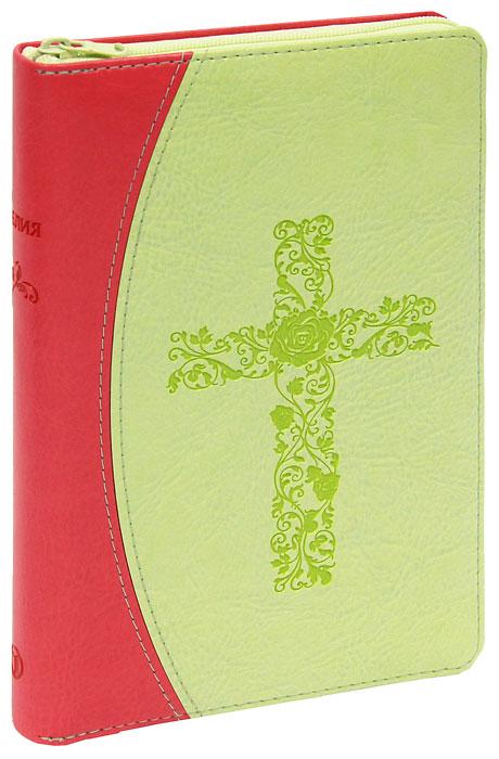 048 DTzti (крест из цветов, переплет с молнией и индексами, термо винил, красный/салатовый, средний