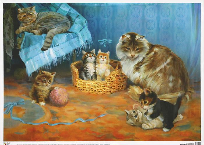 Кошка с котятами. Постер