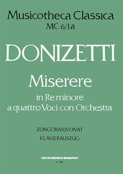 Donizetti: Miserere in reminore a quattro voci con orchestra: Zongorakivonat: Klavierauszug