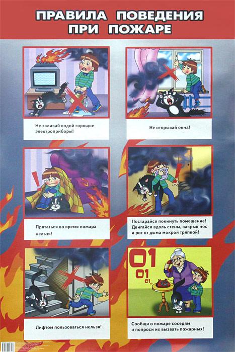 Правила поведения при пожаре. Плакат