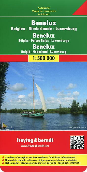 Benelux. Belgien. Niederlande. Luxemburg: Autokarte.