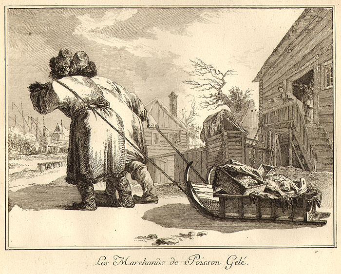 Жан-Батист Лепренс. Русские торговцы рыбой. Гравюра. Франция, 1764 год306-14183/EifelTowerРусские торговцы рыбой. Гравюра. Франция, 1764 год. Гравер: Жан-Батист Лепренс (Jean-Baptiste Le Prince 1734-1781), изобретатель техники акватинты. Размер листа 25,3 х 38,5 см, размер изображения 16,5 х 22,5 см. Сохранность очень хорошая. Жан-Батист Лепренс почти единственный среди иностранных художников того времени приехал в Россию после долгого путешествия по Италии и Голландии по собственной инициативе и на свой страх и риск. Подобное поведение можно объяснить только любовью к путешествиям и интересом к другим странам и необычным людям, поскольку в России Лепренс путешествовал, делая множество зарисовок местных людей, обычаев, зданий и костюмов. Он держался особняком, не став раболепным придворным; в Россию он прибыл скорее для того, чтобы ее узнать, а не для того, чтобы заработать. Именно Лепренс, вернувшись через пять лет из России, ввел во Франции кратковременную моду на русское в живописи и на экзотичный «русский стиль»,...