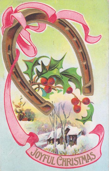 С Рождеством! Открытка306-14183/EifelTowerПоздравительная открытка начала ХХ века, США. Размер открытки 14 х 9 см. Сохранность хорошая. На оборотной стороне письмо, штамп и марка.