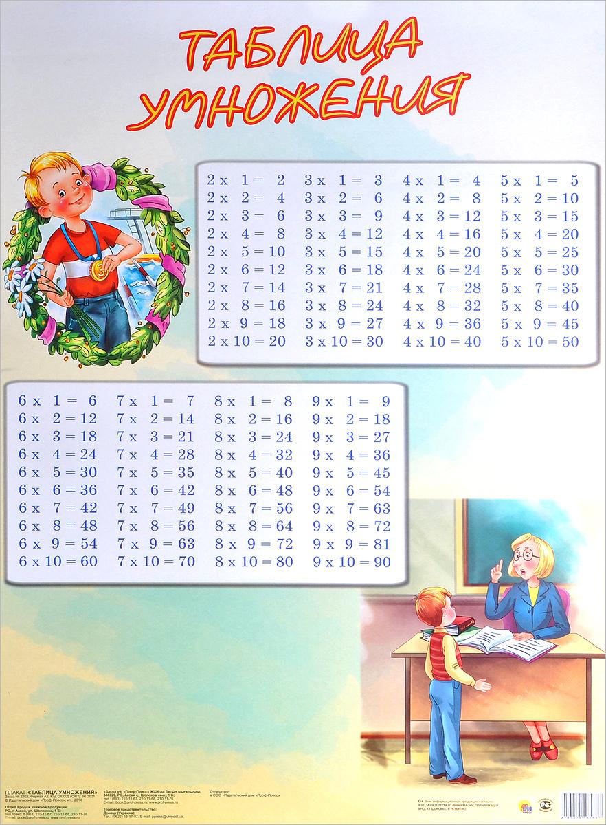 Таблица умножения. Плакат ( 978-5-378-18588-7 )