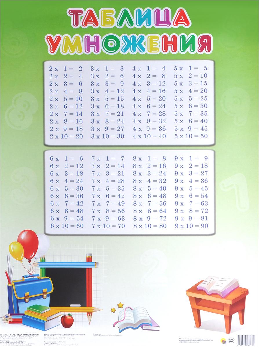Таблица умножения. Плакат ( 978-5-378-18589-4 )