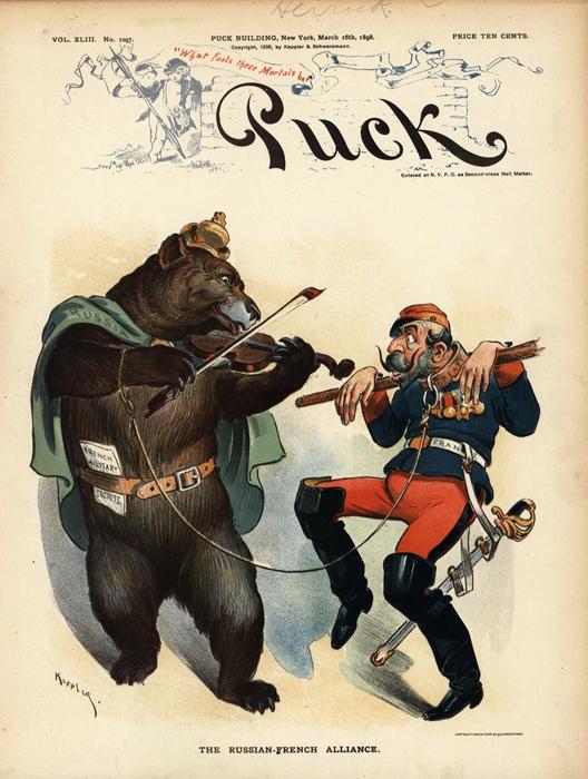 "Русско-французский альянс (The Russian-French Alliance). Обложка журнала ""Puck"", № 43. США, 1898 год"