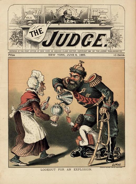 "Скоро будет взрыв (Lookout for an Explosion). Обложка журнала ""The Judge"", №8. США, 1885 год"