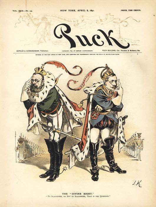 """""""Божественное право"""" (The """"Divine Right""""). Обложка журнала """"Puck"""", № 29. США, 1891 год"""