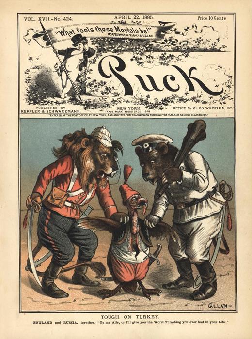 """Давление на Турцию (""""Tough on Turkey""""). Обложка журнала """"Puck"""", № 17. США, 1885 год"""