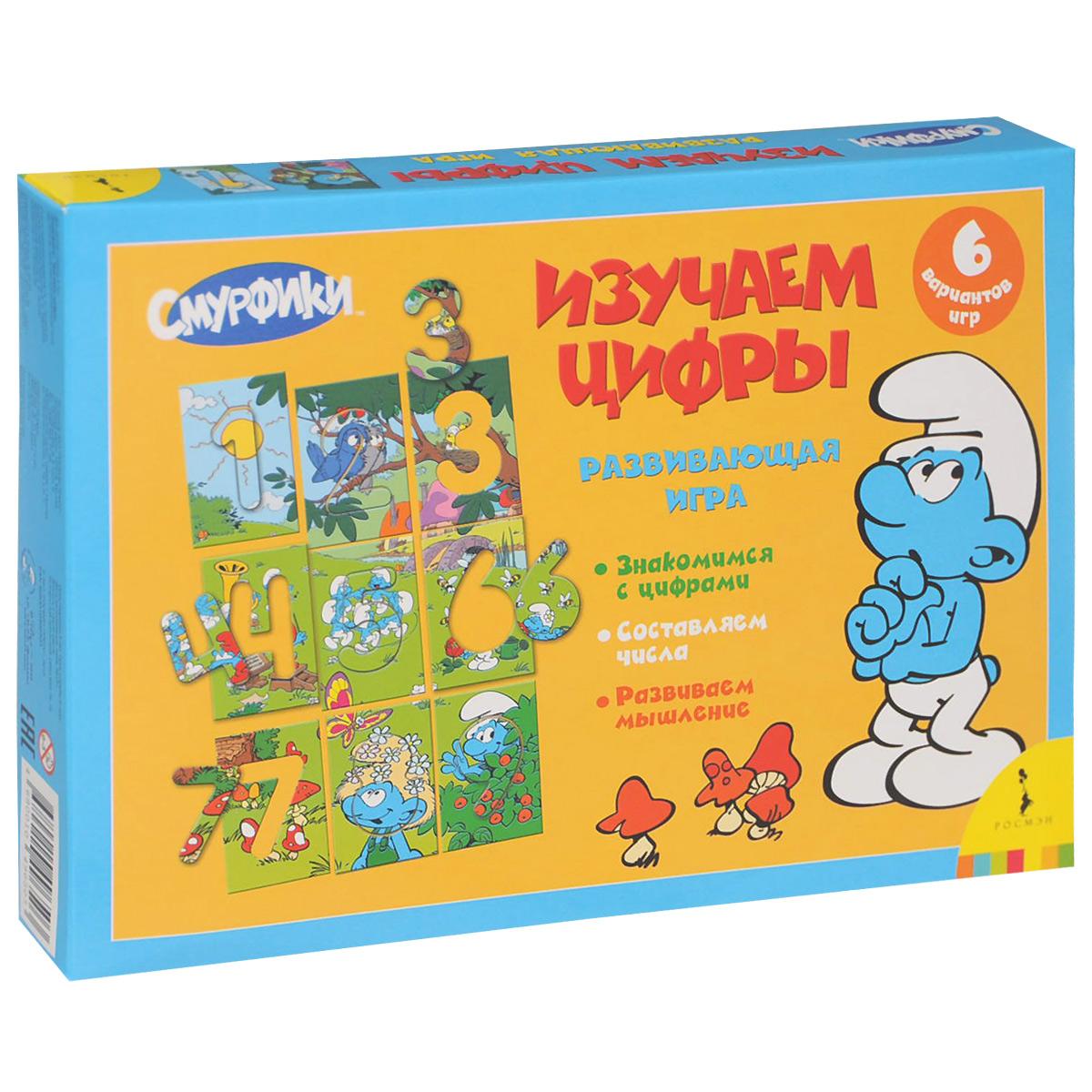 Смурфики. Изучаем цифры. Развивающая игра12296407В игровой форме ребенок выучит цифры от 1 до 9, научится составлять числа. Игра способствует развитию математических способностей, логического мышления, совершенствует мелкую моторику рук. В комплект входит 9 красочно иллюстрированных карточек, выполненных из картона, с вынимающимися цифрами. Размер одной карточки: 16 см х 11 см. К игре прилагается лист с правилами. Набор упакован в картонную коробку. Размер коробки: 28 см х 19,5 см х 4 см.