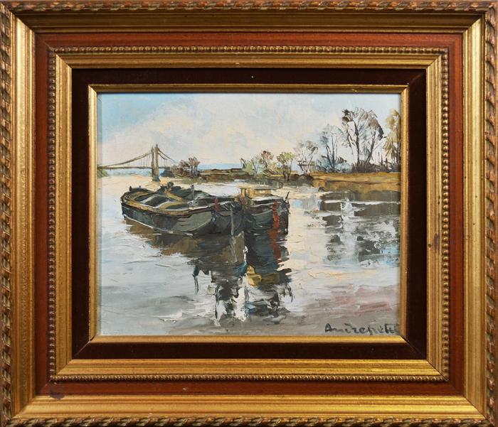 ������� ����� �� ���� (Peniches sur la Seine). �������� ���� �������� (Henri Andrepetit; 1912-2000). �����, �����. �������, 1978 ���������������� ����� �� ���� (Peniches sur la Seine). �������� ���� �������� (Henri Andrepetit; 1912-2000). �����, �����. �������, 1978 ���. ������� ��������� � ����������� �����. ������ ���� 40 � 35 ��. ������ ������ 27 � 22 ��. ����������� �������������. � ������ ������ ���� ������� ��������� - Andrepetit. �� ��������� ������� - ��� ���������, ��������� �������� ������ - Katherine et Jeanne dArc � ���� - 2.11.78. ������ �������������� ������������ ��������� ������� Paysages. ������������ ������ ������������ ��������� ���� �������� ������ ���������� ���������� ��������� ������ ���� � ��������� �������� ��������.