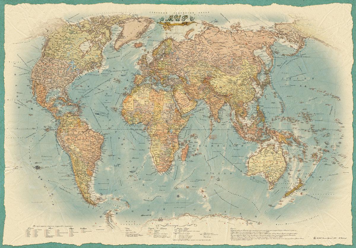 Политическая карта Мира в стиле ретро