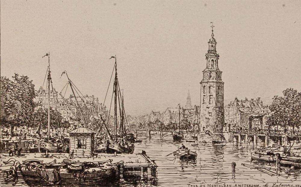 Монетная башня в Амстердаме. Офорт. Западная Европа, 1881 г.306-14183/EifelTowerОфорт 80-х годов XIX века. Гравер - M. Lalanne. Размер изображения: 13.5 х 21.7 см. Размер листа: 24.5 х 34.5 см. Сохранность хорошая. Офорт с видом на Монетную башню в Амстердаме. Башня стоит на оживленной Монетной площади, при слиянии реки Амстел и канала Сингел, у цветочного рынка и восточной части торговой улицы Калверстрат. Своё современное название башня получила потому, что в XVII веке она временно использовалась вместе с домом стражи в качестве монетного двора. Дом стражи, который пережил пожар 1618 практически без потерь, был заменен на новое здание в стиле нео-ренессанса в течение 1885-1887. Не подлежит вывозу за пределы Российской Федерации.