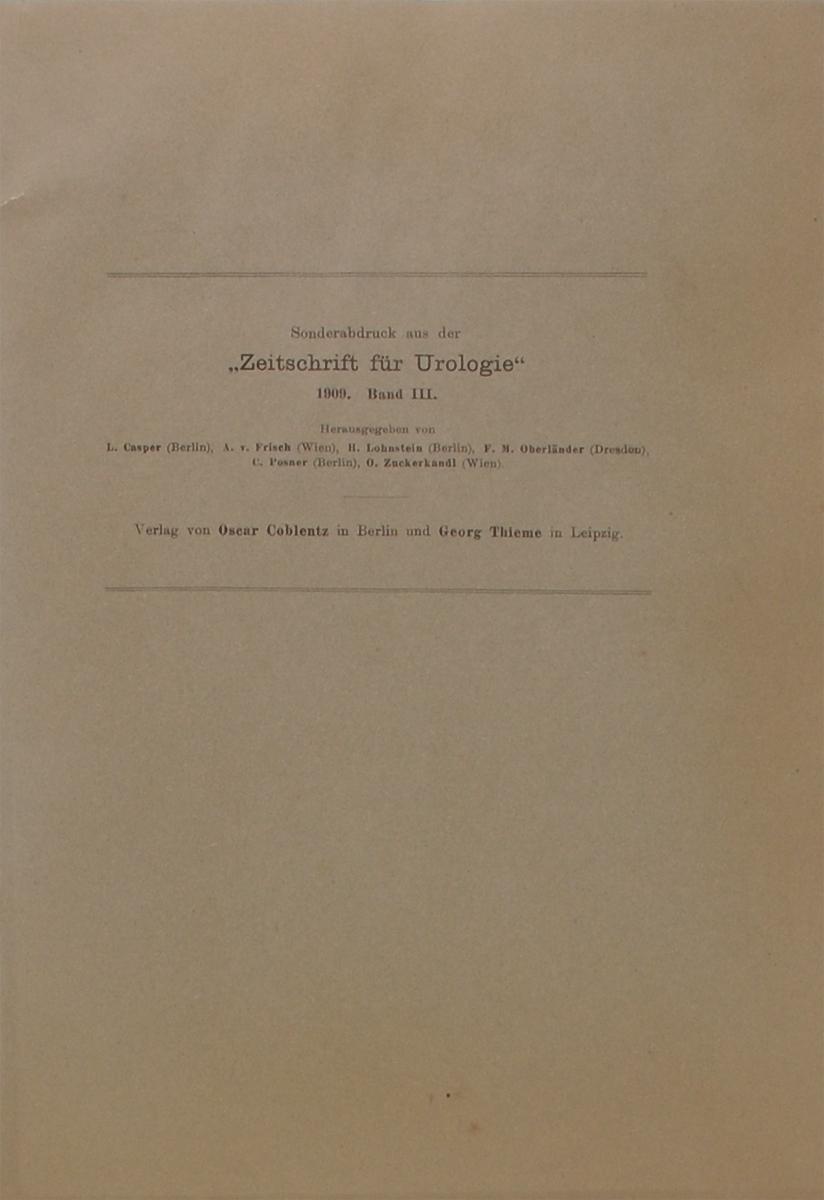 Zeitschrift fur Urologie. Band III