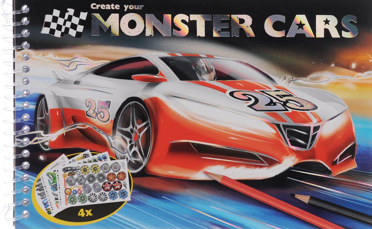 Create Your Monster Cars. Раскраска (+ наклейки)12296407Множество разнообразных спортивных автомобилей ждут вашего ребенка на страницах альбома для раскрашивания Create Your Monster Cars! Ребенок сможет раскрасить автомобиль по образцу, или же сделать его неповторимым по воле своей фантазии. Картинки можно дополнить и украсить с помощью ярких переливающихся наклеек.