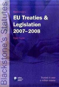 Blackstone's EU Treaties & Legislation 2008-2009