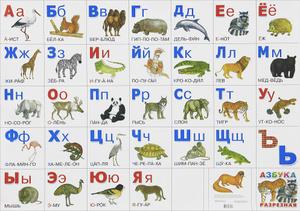 Животные. Разрезная азбука. Плакат -