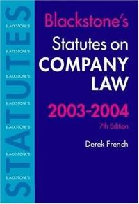 Statutes on Company Law 2003-2004 (Blackstone's Statute Book Series)