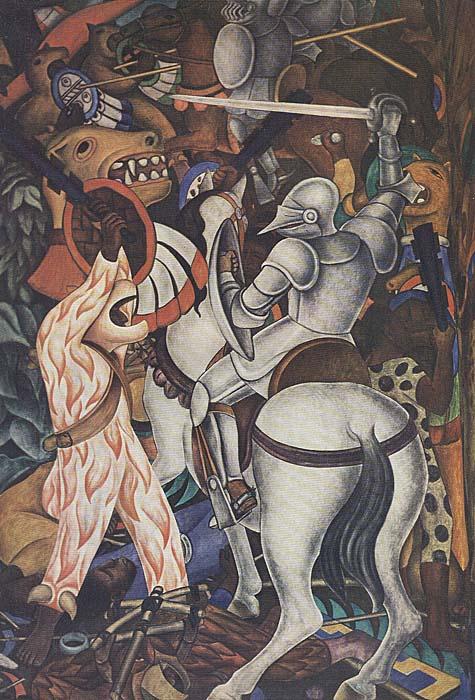 Der Mensch in Flammen. Wandmalerei in Mexiko