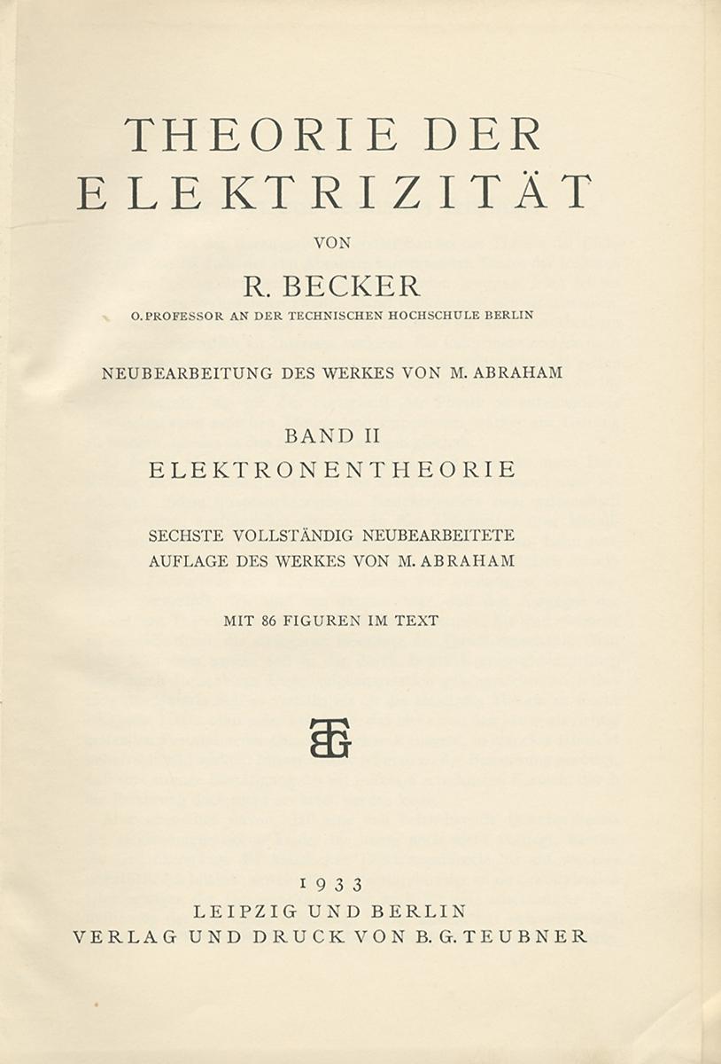 Theorie der elektrizitat: Band 2: Elektronentheorie