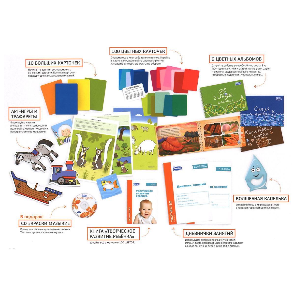 Творчество с пеленок (комплект из 7 книг + 3 набора карточек + арт-конструктор с CD-ROM + арт-листы)