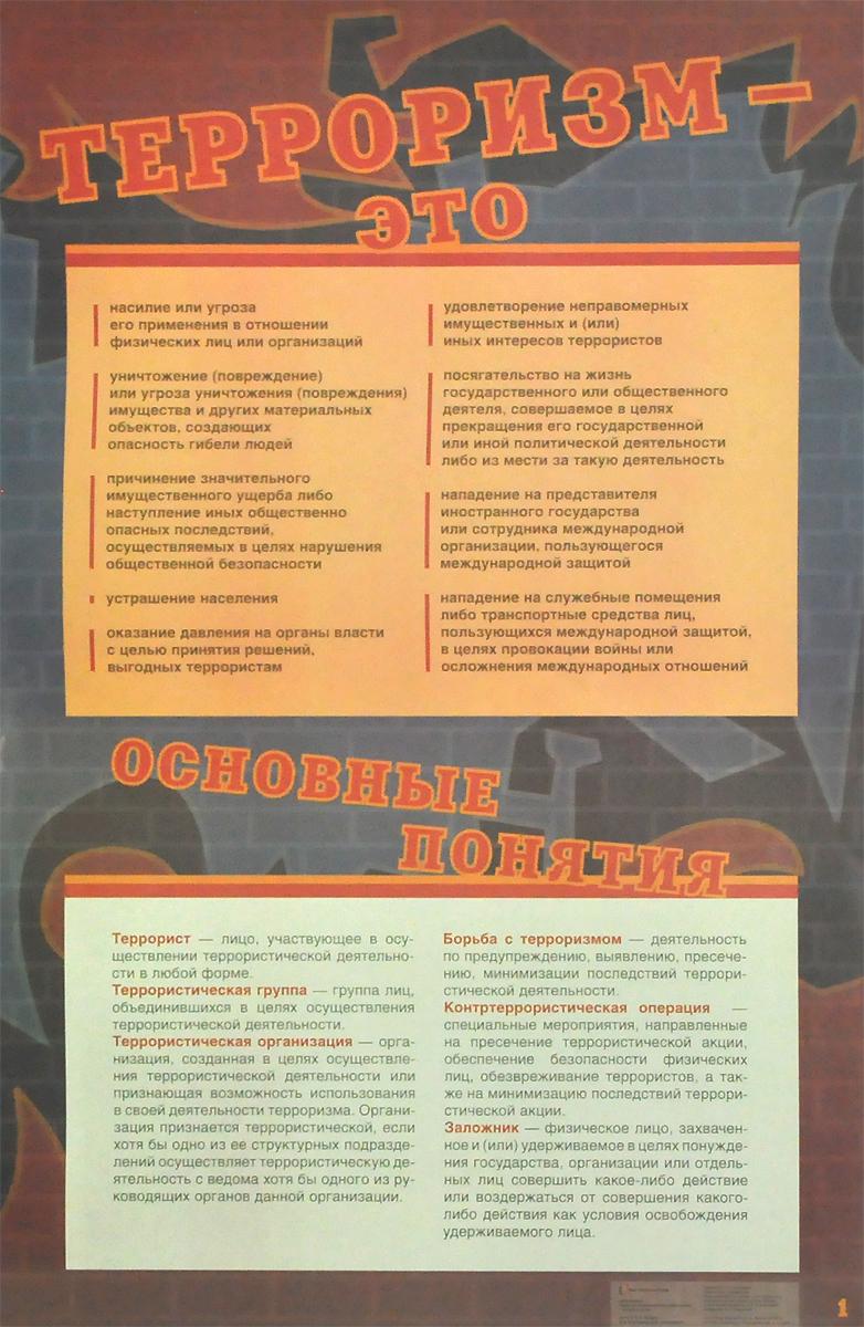 Антитеррор. Меры по профилактике терроризма. Набор плакатов для оформления кабинета ОБЖ. 5-11 классы