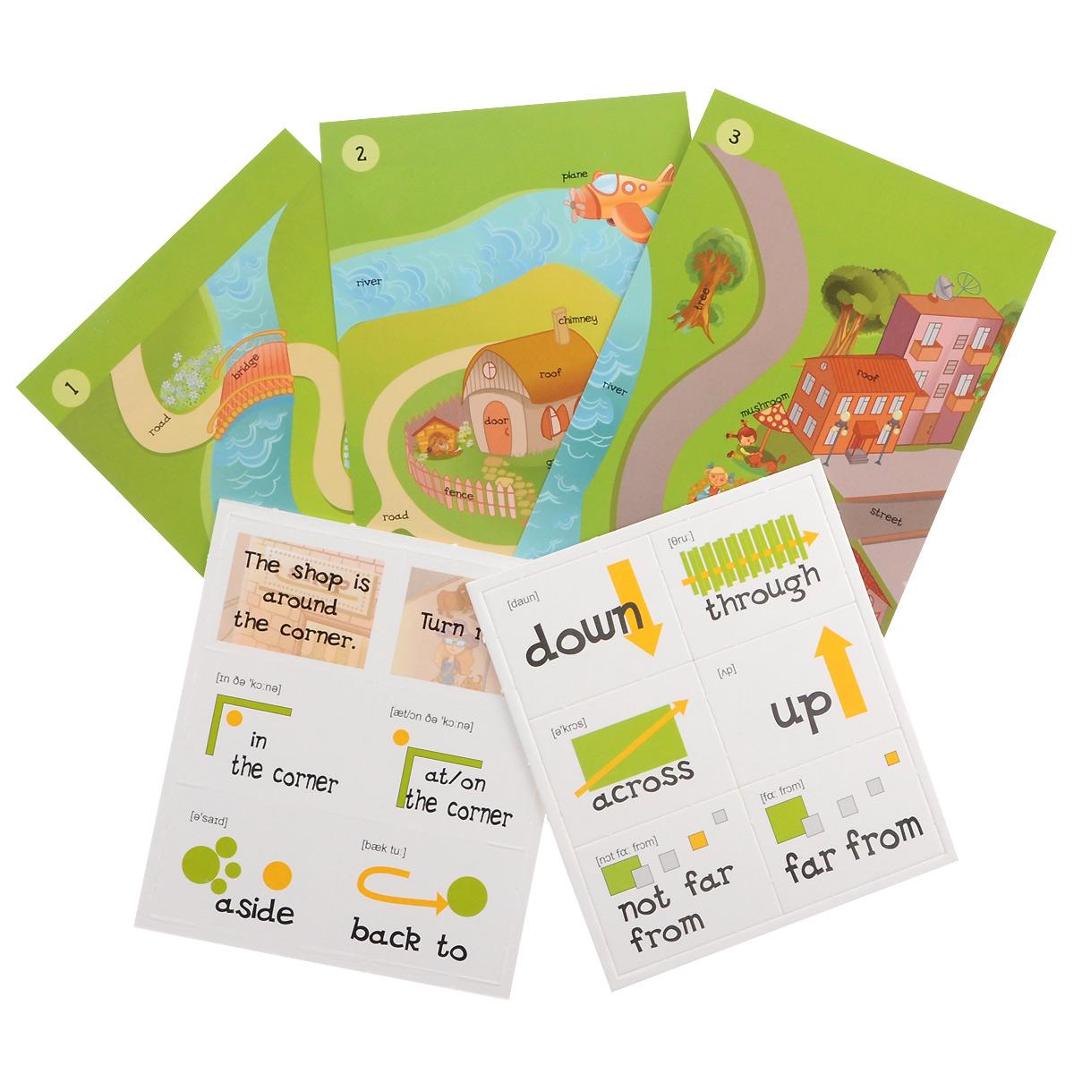Английский язык, предлоги места и движения. Кот в мешке (набор из 8 полей лото, 36 карточек, поля-ходилки)