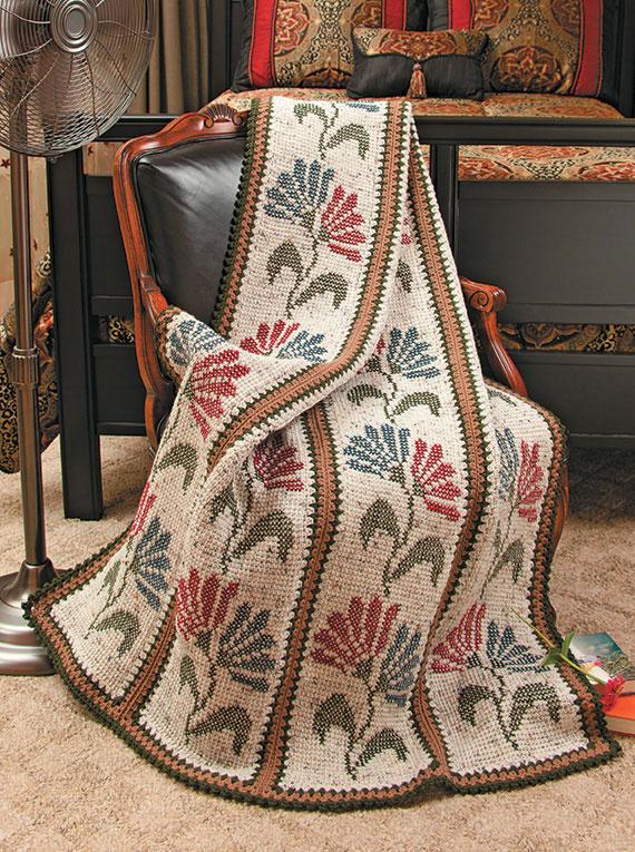 Пледы в тунисском стиле. Вяжем крючком и вышиваем