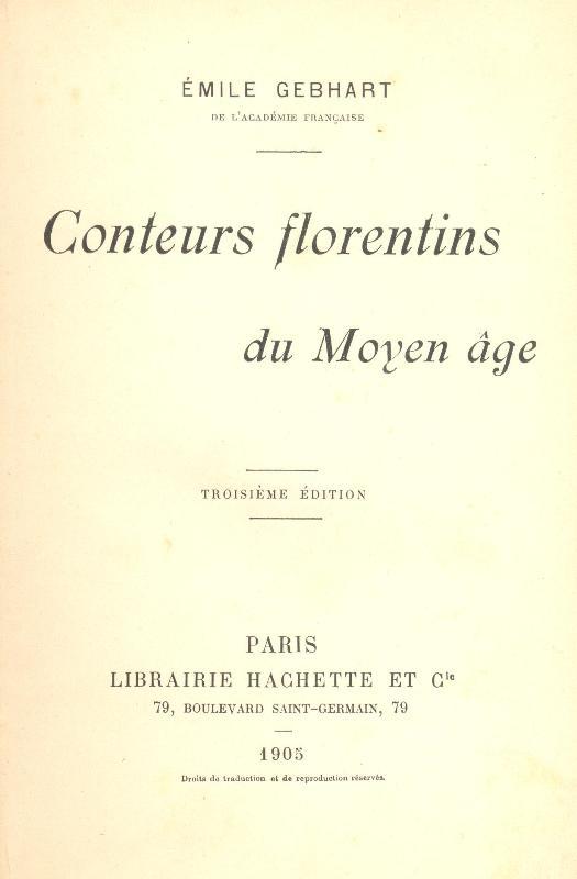 Conteurs florentins du Moyen age