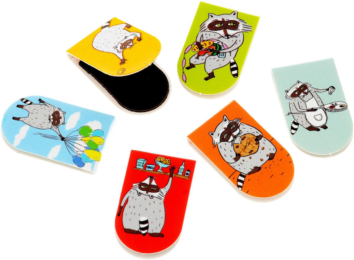 Безумный енот и печеньки (набор из 6 магнитных закладок)