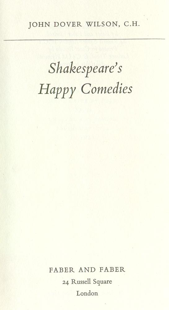 Shakespeare's happy comedies
