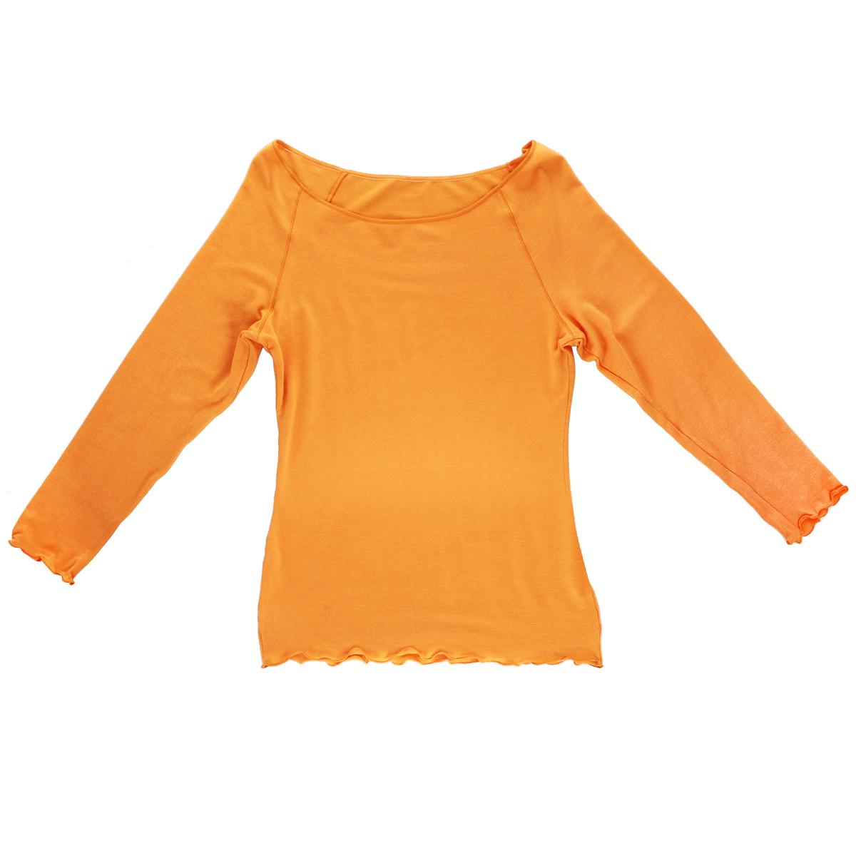 Футболка с длинным рукавом женская Кармэн - Золотая ГрацияКармэнЖенская футболка с длинным рукавом Золотая Грация Кармэн изготовлена из шелковистого, очень тонкого, нежного полотна нового поколения с эффектом персиковой кожи. Футболка с рукавами 3/4 и круглым вырезом горловины имеет плоские боковые швы и современную обработку эластичной тесьмой. Мягкая прочная отделочная нить устойчива к истиранию.