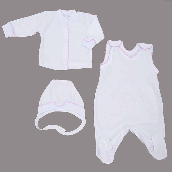 Комплект одежды11-5013Комплект Фреш Стайл, состоящий из кофточки, ползунков с грудкой и чепчика, идеально подойдет вашему ребенку. Изготовленный из 100% хлопка, он необычайно мягкий и легкий, приятный на ощупь, не раздражает нежную кожу ребенка и хорошо вентилируется. Кофточка с небольшим воротником-стойкой и длинными рукавами имеет удобные застежки-кнопки по всей длине, которые помогают легко переодеть ребенка. Воротничок и манжеты рукавов дополнены трикотажной эластичной резинкой. Планка и рукава украшены ажурными рюшами. Ползунки с грудкой и закрытыми ножками, застегивающиеся сверху на кнопки. Грудка и ножки украшены ажурными рюшами. Они подходят для ношения с подгузником и без него и полностью соответствуют особенностям жизни младенца в ранний период, не стесняя и не ограничивая его в движениях! Мягкий чепчик защищает еще не заросший родничок, щадит чувствительный слух ребенка, а мягкая резиночка, не сдавливая голову малыша, прикрывает ушки и предохраняет от теплопотерь. Швы...
