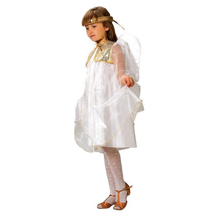 Карнавальный костюм для девочки Ангел. 102 004102 004Яркий детский карнавальный костюм Ангел позволит вашей малышке быть самой красивой девочкой на детском утреннике, бале-маскараде или карнавале. В комплект входят платье, жилетка с крылышками и ободок. Белоснежное платье выполнено из атласного материала и прозрачной органзы с золотой окантовкой. Дополнят образ Ангелочка жилетка с крылышками, украшенная золотыми паетками, и золотой ободок, имитирующий нимб. Крылышки оформлены рюшами и лебяжьим пухом. Если ваша дочурка любит волшебство и мечтает хоть на минутку превратиться в прекрасного Ангела, этот шикарный карнавальный костюм поможет вам сделать ребенку поистине сказочный подарок! Веселое настроение и масса положительных эмоций будут обеспечены!